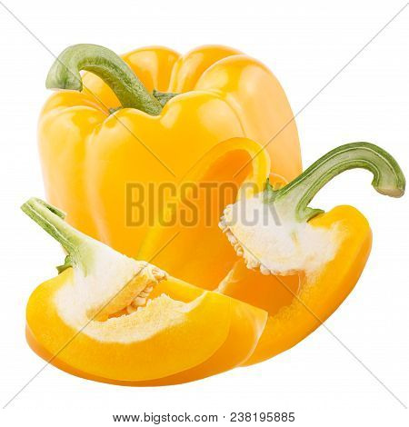 Isolated Vegetables. One Whole With Half And Quarter Of Yellow Sweet Peppers Isolated On White Backg