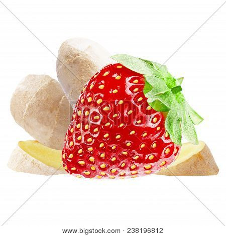 Isolated Various Fruits. Fresh Sweet Strawberry And Ginger Root Isolated On White Background With Cl
