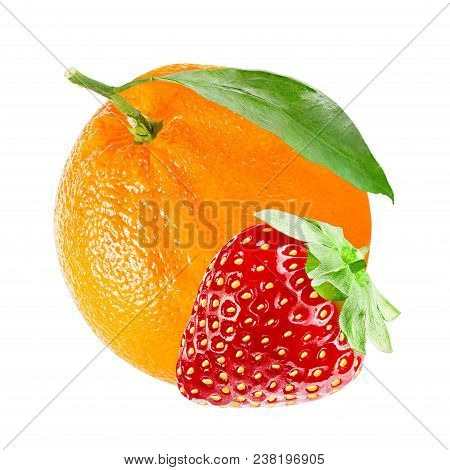 Isolated Various Fruits. Fresh Sweet Strawberry And Orange Isolated On White Background With Clippin