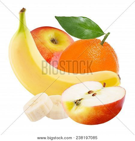 Isolated Various Fruits. Fresh Banana, Orange And Red Apple Isolated On White Background With Clippi