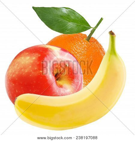 Isolated Various Fruits. Fresh Sweet Apple, Banana And Orange Isolated On White Background With Clip
