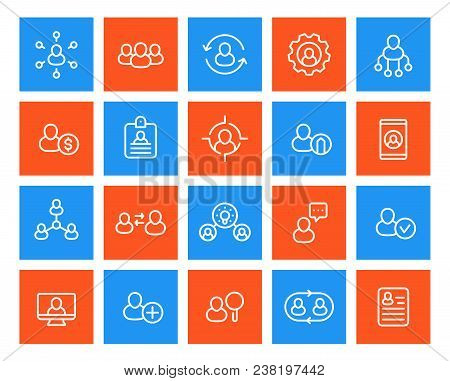 Human Resources And Personnel Management Icons Set, Linear, Eps 10 File, Easy To Edit