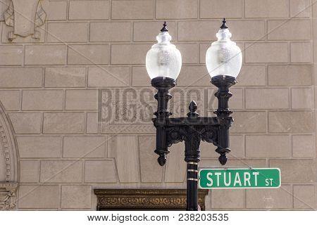 Old Lantern With Street Sign Stuart Street In Boston, Ma, Usa