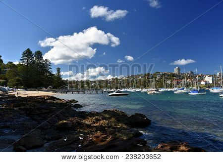 Balgowlah, Australia - Feb 4, 2018. Yachts In North Harbour At Fourty Baskets Beach On A Sunny Day.