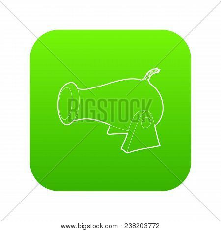 Cannon Icon Green Vector Isolated On White Background