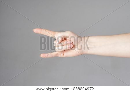Hand Drawn Hand Gesture Rock Goat. Hands With Rock Fingers Up. Informal Hand Emotions. Isolated Over
