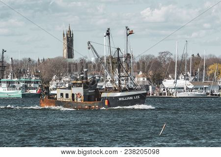 New Bedford, Massachusetts, Usa - April 26, 2018: Fishing Vessel William Lee On Acushnet River With