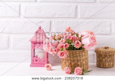 Pink Roses Flowers And Decorative Pinke Lantern Against  White Brick Wall. Floral Still Life.  Selec