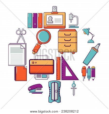 Stationery Icons Set. Cartoon Illustration Of 16 Stationery Vector Icons For Web