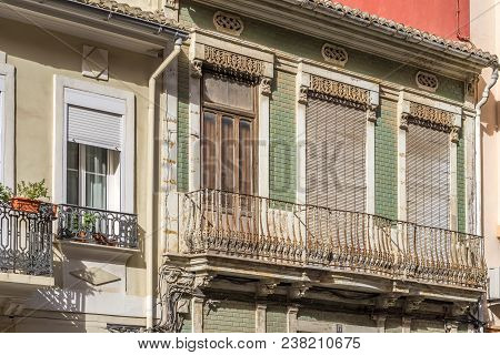 Detail Of A Windows At Traditional Vintage Apartment Architecture, Colorful Facade Of A Residential