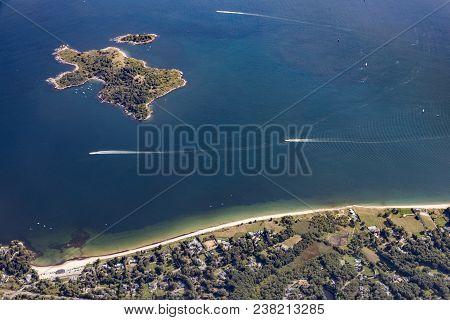 Misery Island, Aerial,  Boston, Ma, Usa On A Sunny Day