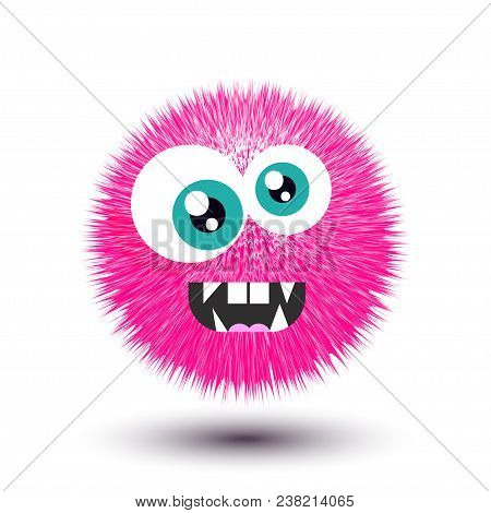 Furry Monster, Round Cartoon Prickly Character, Funny Virus, Crazy Bacteria, Circle Alien, Germ Isol