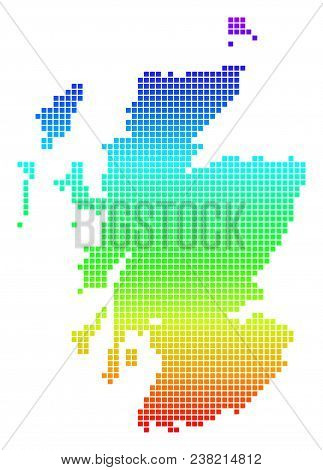 Bright Rainbow Dotted Scotland Map. Vector Geographic Map In Bright Spectrum Colors With Vertical Gr