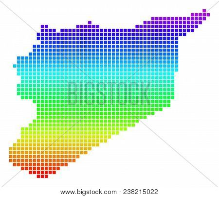 Colored Spectral Dot Syria Map. Vector Geographic Map In Bright Rainbow Colors With Vertical Gradien