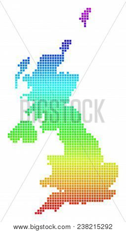 Colored Spectral Pixel United Kingdom Map. Vector Geographic Map In Bright Spectral Colors With Vert