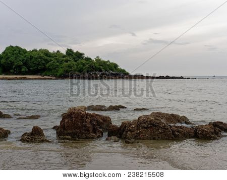 Scenery View In Ban Krut, Prachuap Khiri Khan With Beach, Sea, Mountain, Sky, And Island, Which Is F
