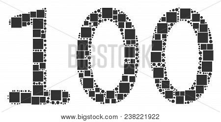 100 Text Collage Icon Of Squares And Circles In Various Sizes. Vector Objects Are Composed Into 100