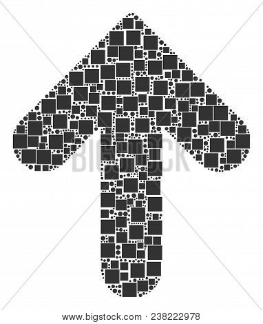 Arrow Direction Mosaic Icon Of Square Figures And Spheric Dots In Various Sizes. Vector Items Are Co