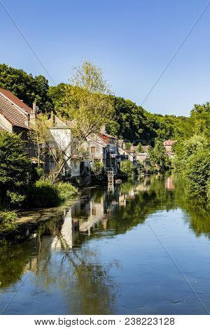 Typical Small Village L-isle-sur-le-doubs In France With River Doubs