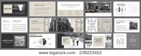 Black And Grey Marketing Or Planning Concept Infographics Set. Business Design Elements For Presenta