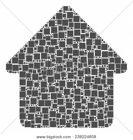 Cabin Mosaic Icon Of Square Figures And Round Items In Various Sizes. Vector Items Are United Into C