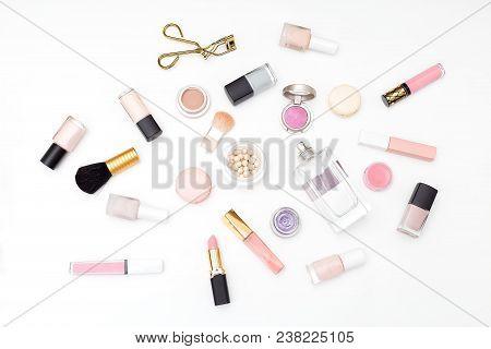 Set Of Decorative Cosmetics On A Light Background. Flat Lay