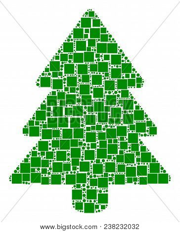 Fir-tree Composition Icon Of Square Figures And Spheric Dots In Different Sizes. Vector Items Are Fo