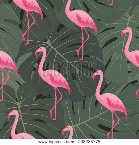 Tropical Seamless Pattern With Pink Flamingos. Vector Summer Floral Background With Tropic Palms, Gr