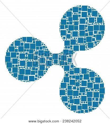 Ripple Currency Collage Icon Of Square Figures And Round Items In Variable Sizes. Vector Objects Are