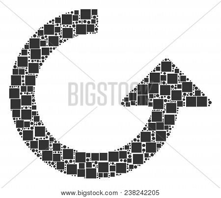Rotate Collage Icon Of Square Figures And Circles In Various Sizes. Vector Items Are Composed Into R