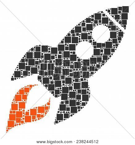 Space Rocket Launch Composition Icon Of Squares And Circles In Different Sizes. Vector Objects Are G