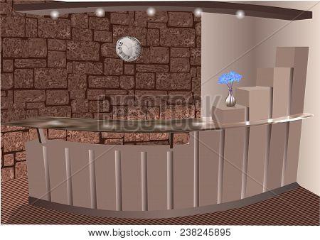 Reception Vector Illustration. Reception Desks With Vase