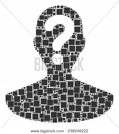 Unknown Person Composition Icon Of Rectangles And Round Items In Different Sizes. Vector Items Are G