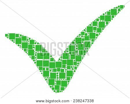 Yes Mosaic Icon Of Square Figures And Circles In Variable Sizes. Vector Items Are Organized Into Yes