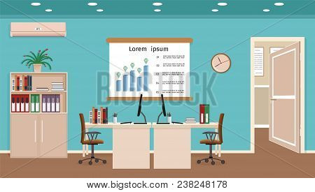Office Room Interior With Two Workspaces. Workplace Organization In Business Office. Working Cabinet