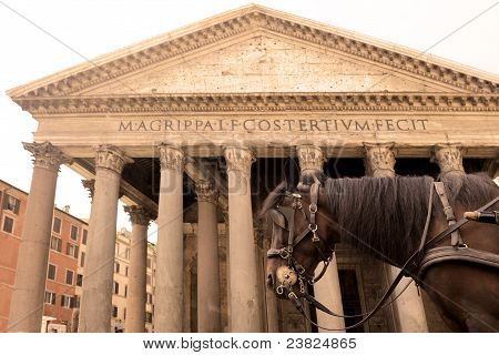 horse carriage in front of the Pantheon Rome poster
