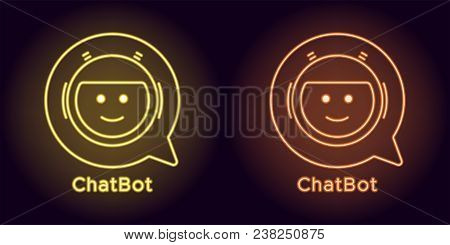 Neon Chat Bot In Yellow And Orange Color. Vector Illustration Of Virtual Chatbot With Speech Bubble