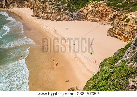 Beautiful Bay And Sandy Beach Of Praia Do Beliche Near Cabo Sao Vicente, Algarve Region, Portugal
