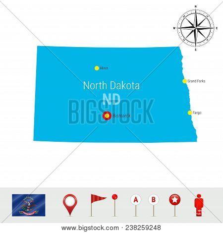 North Dakota Vector Map Isolated On White. High Detailed Silhouette Of North Dakota State. Vector Fl