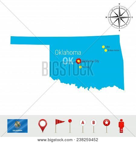 Oklahoma Vector Map Isolated On White Background. High Detailed Silhouette Of Oklahoma State. Vector