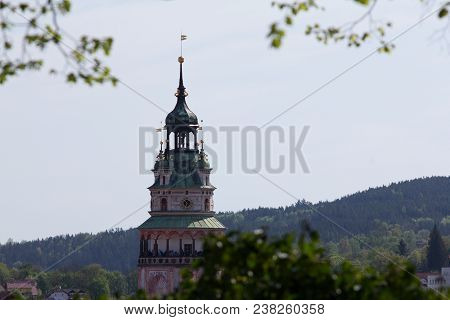 Protected Monument Of Unesco State Castle And Castle Cesky Krumlov, Castle Tower.