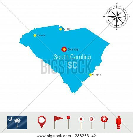 South Carolina Vector Map Isolated On White. Detailed Silhouette Of South Carolina State. Vector Fla