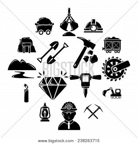 Mining Minerals Business Icons Set. Simple Illustration Of 16 Mining Minerals Business Vector Icons