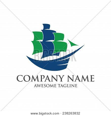 Abstract Ship Logo. Yacht Icon. Ocean Ship Graphic. Marine Boat Transport Symbol. Nautical Icon. Vec