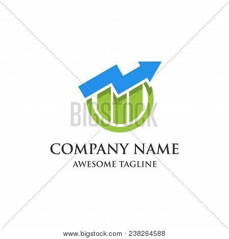 Abstract  Financial Market Logo. Finance Bar Chart Or Stock Exchange Marketing Icon Symbol. Logo Tem
