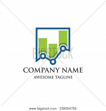 Abstract Financial Logo. Finance Bar Chart Or Stock Exchange Icon Symbol. Logo Template Ready For Us