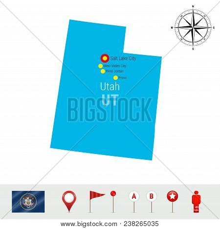 Utah Vector Map Isolated On White Background. High Detailed Silhouette Of Utah State. Vector Flag Of
