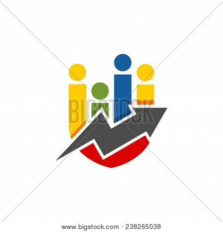 Abstract Colorful Shield And People Shape Financial Logo. Finance Arrow Bar Chart Or Stock Exchange