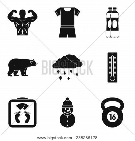 Winter Playful Icons Set. Simple Set Of 9 Winter Playful Vector Icons For Web Isolated On White Back