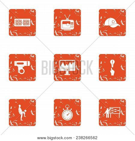 Sport Conquest Icons Set. Grunge Set Of 9 Sport Conquest Vector Icons For Web Isolated On White Back